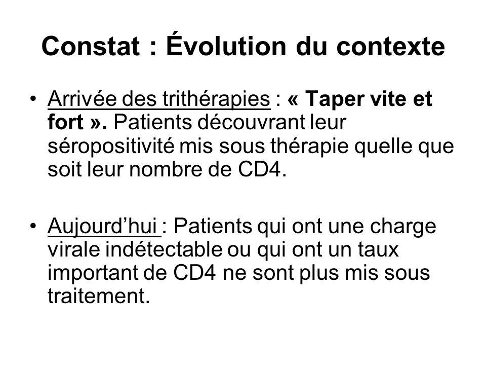 Constat : Évolution du contexte Arrivée des trithérapies : « Taper vite et fort ». Patients découvrant leur séropositivité mis sous thérapie quelle qu