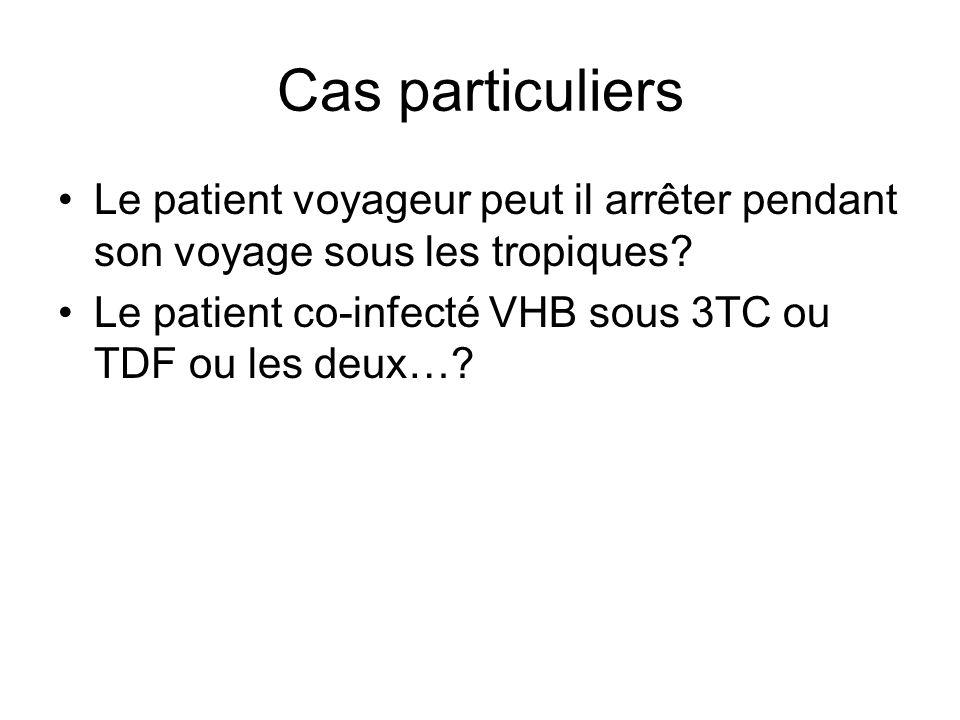Cas particuliers Le patient voyageur peut il arrêter pendant son voyage sous les tropiques? Le patient co-infecté VHB sous 3TC ou TDF ou les deux…?