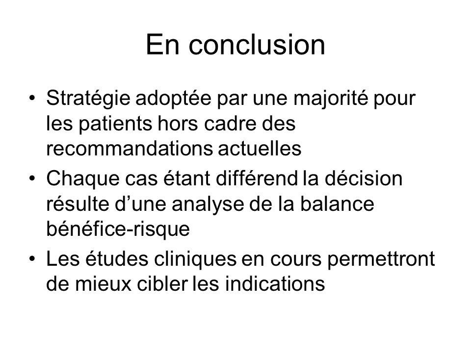 En conclusion Stratégie adoptée par une majorité pour les patients hors cadre des recommandations actuelles Chaque cas étant différend la décision rés