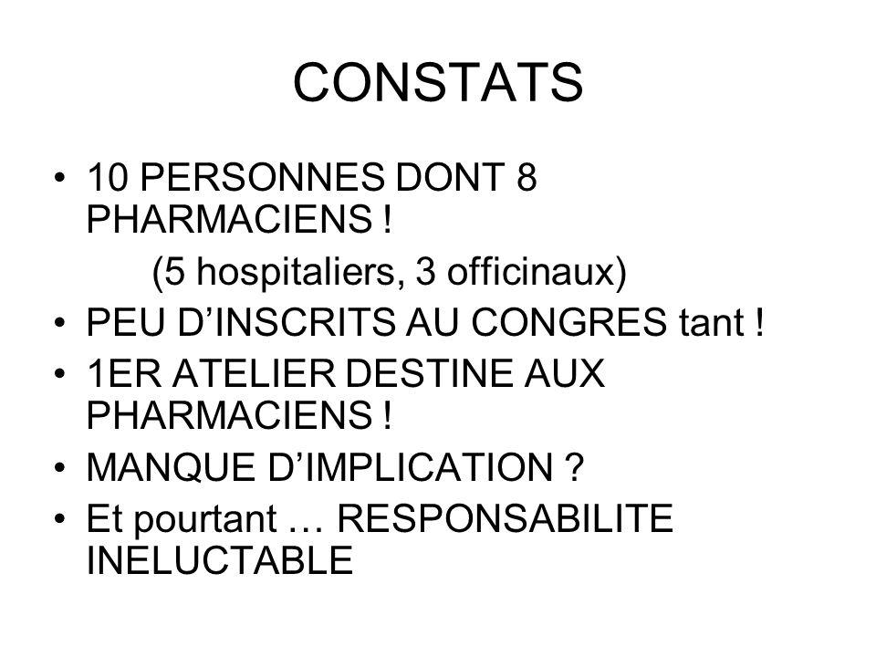CONSTATS 10 PERSONNES DONT 8 PHARMACIENS ! (5 hospitaliers, 3 officinaux) PEU DINSCRITS AU CONGRES tant ! 1ER ATELIER DESTINE AUX PHARMACIENS ! MANQUE