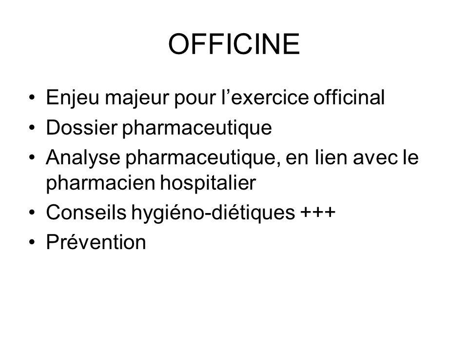 OFFICINE Enjeu majeur pour lexercice officinal Dossier pharmaceutique Analyse pharmaceutique, en lien avec le pharmacien hospitalier Conseils hygiéno-