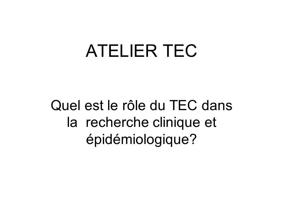 ATELIER TEC Quel est le rôle du TEC dans la recherche clinique et épidémiologique?