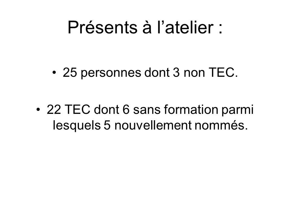 Présents à latelier : 25 personnes dont 3 non TEC. 22 TEC dont 6 sans formation parmi lesquels 5 nouvellement nommés.