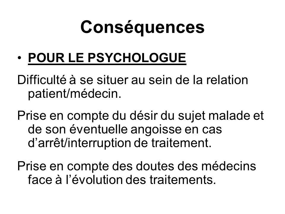 Conséquences POUR LE PSYCHOLOGUE Difficulté à se situer au sein de la relation patient/médecin. Prise en compte du désir du sujet malade et de son éve