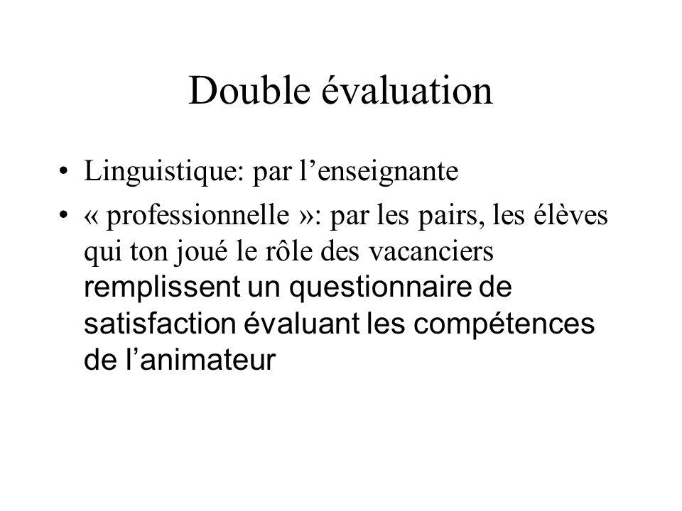 Double évaluation Linguistique: par lenseignante « professionnelle »: par les pairs, les élèves qui ton joué le rôle des vacanciers remplissent un que
