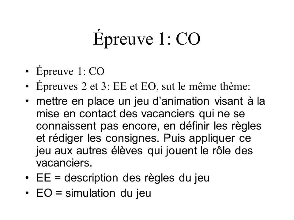Épreuve 1: CO Épreuves 2 et 3: EE et EO, sut le même thème: mettre en place un jeu danimation visant à la mise en contact des vacanciers qui ne se con