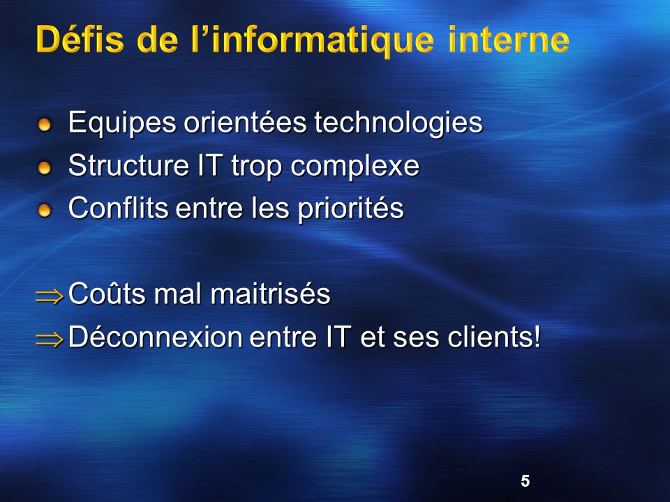 Equipes orientées technologies Structure IT trop complexe Conflits entre les priorités Coûts mal maitrisés Coûts mal maitrisés Déconnexion entre IT et ses clients.