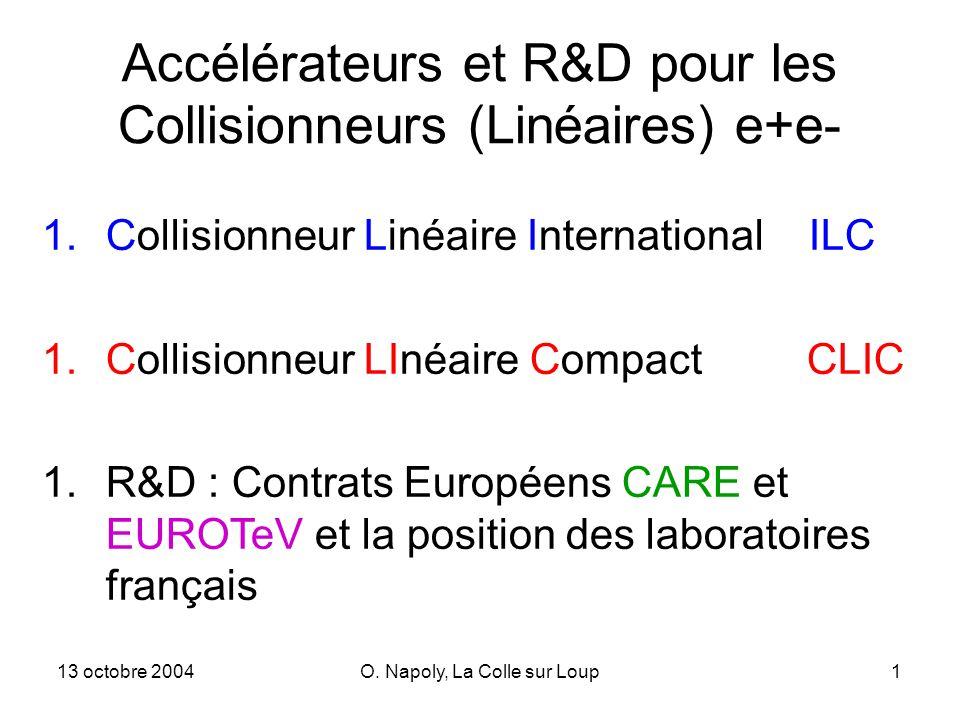 13 octobre 2004O. Napoly, La Colle sur Loup1 Accélérateurs et R&D pour les Collisionneurs (Linéaires) e+e- 1.Collisionneur Linéaire International ILC