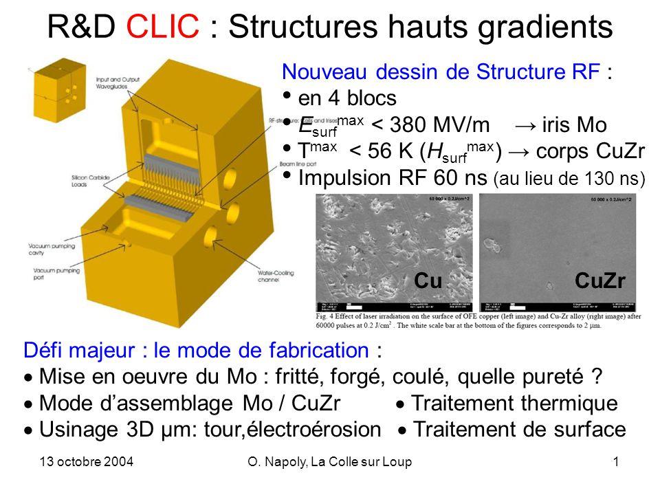 13 octobre 2004O. Napoly, La Colle sur Loup1 R&D CLIC : Structures hauts gradients Nouveau dessin de Structure RF : en 4 blocs E surf max < 380 MV/m i