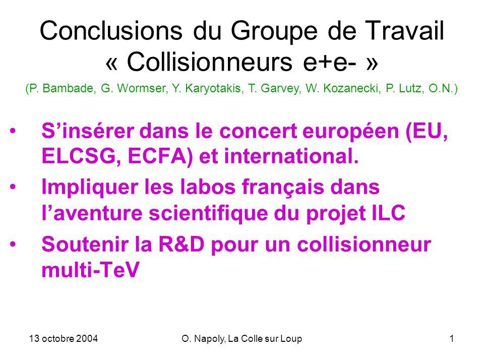 13 octobre 2004O. Napoly, La Colle sur Loup1 Conclusions du Groupe de Travail « Collisionneurs e+e- » Sinsérer dans le concert européen (EU, ELCSG, EC