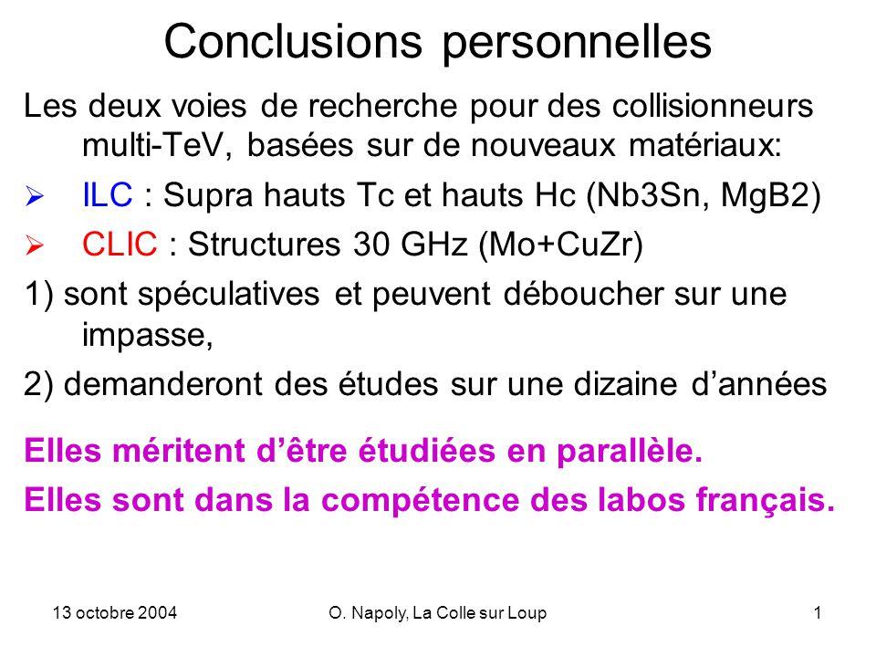 13 octobre 2004O. Napoly, La Colle sur Loup1 Conclusions personnelles Les deux voies de recherche pour des collisionneurs multi-TeV, basées sur de nou