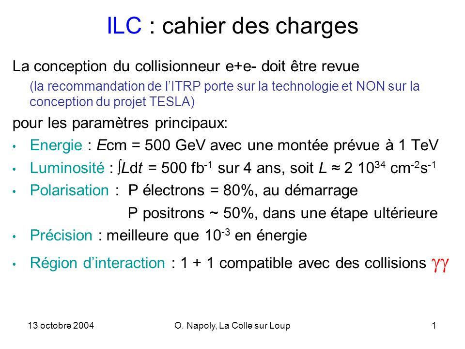 13 octobre 2004O. Napoly, La Colle sur Loup1 ILC : cahier des charges La conception du collisionneur e+e- doit être revue (la recommandation de lITRP