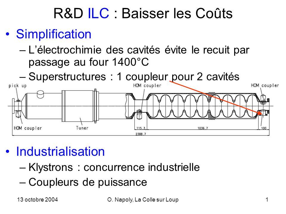 13 octobre 2004O. Napoly, La Colle sur Loup1 R&D ILC : Baisser les Coûts Simplification –Lélectrochimie des cavités évite le recuit par passage au fou