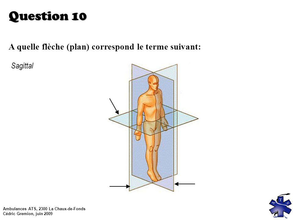 Ambulances ATS, 2300 La Chaux-de-Fonds Cédric Gremion, juin 2009 Question 10 A quelle flèche (plan) correspond le terme suivant: Sagittal
