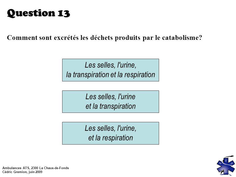 Ambulances ATS, 2300 La Chaux-de-Fonds Cédric Gremion, juin 2009 Question 13 Comment sont excrétés les déchets produits par le catabolisme.