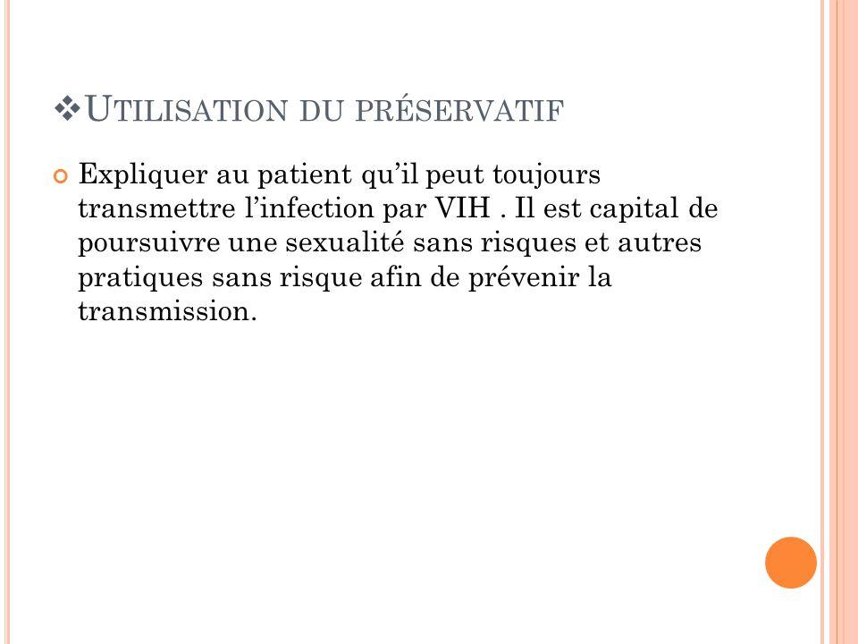 U TILISATION DU PRÉSERVATIF Expliquer au patient quil peut toujours transmettre linfection par VIH.