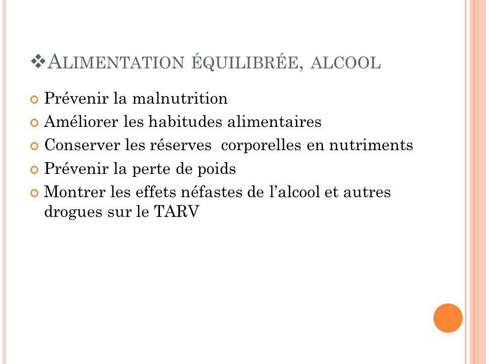 A LIMENTATION ÉQUILIBRÉE, ALCOOL Prévenir la malnutrition Améliorer les habitudes alimentaires Conserver les réserves corporelles en nutriments Prévenir la perte de poids Montrer les effets néfastes de lalcool et autres drogues sur le TARV