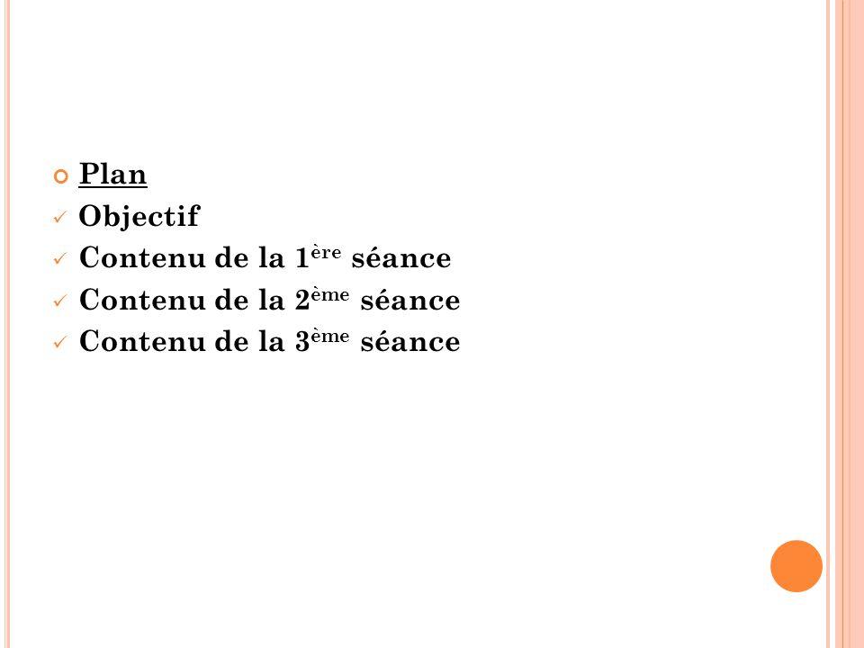 Plan Objectif Contenu de la 1 ère séance Contenu de la 2 ème séance Contenu de la 3 ème séance