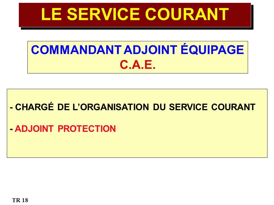 COMMANDANT ADJOINT ÉQUIPAGE C.A.E. - CHARGÉ DE LORGANISATION DU SERVICE COURANT - ADJOINT PROTECTION TR 18 LE SERVICE COURANT