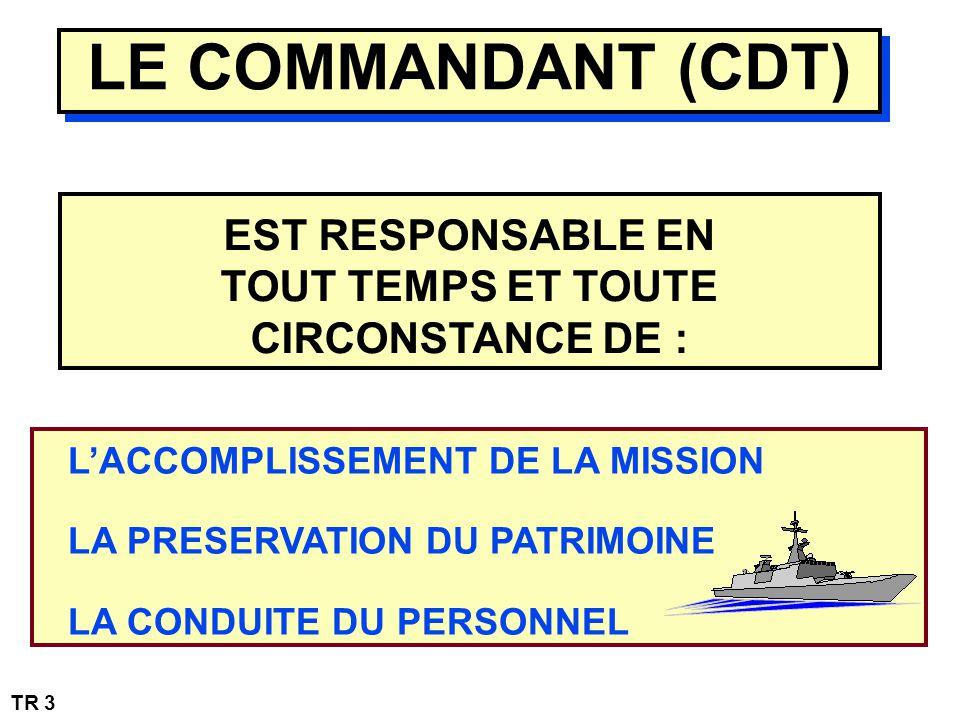 LE COMMANDANT (CDT) EST RESPONSABLE EN TOUT TEMPS ET TOUTE CIRCONSTANCE DE : LACCOMPLISSEMENT DE LA MISSION LA PRESERVATION DU PATRIMOINE LA CONDUITE DU PERSONNEL TR 3