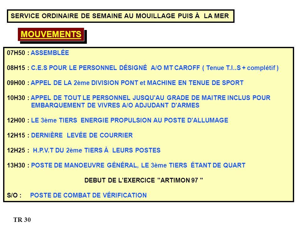 07H50 : ASSEMBLÉE 08H15 : C.E.S POUR LE PERSONNEL DÉSIGNÉ A/O MT CAROFF ( Tenue T.I..S + complétif ) 09H00 : APPEL DE LA 2ème DIVISION PONT et MACHINE EN TENUE DE SPORT 10H30 : APPEL DE TOUT LE PERSONNEL JUSQU AU GRADE DE MAITRE INCLUS POUR EMBARQUEMENT DE VIVRES A/O ADJUDANT D ARMES 12H00 : LE 3ème TIERS ENERGIE PROPULSION AU POSTE D ALLUMAGE 12H15 : DERNIÈRE LEVÉE DE COURRIER 12H25 :: H.P.V.T DU 2ème TIERS À LEURS POSTES 13H30 : POSTE DE MANOEUVRE GÉNÉRAL, LE 3ème TIERS ÉTANT DE QUART DEBUT DE L EXERCICE ARTIMON 97 S/O : POSTE DE COMBAT DE VÉRIFICATION MOUVEMENTS SERVICE ORDINAIRE DE SEMAINE AU MOUILLAGE PUIS À LA MER TR 30