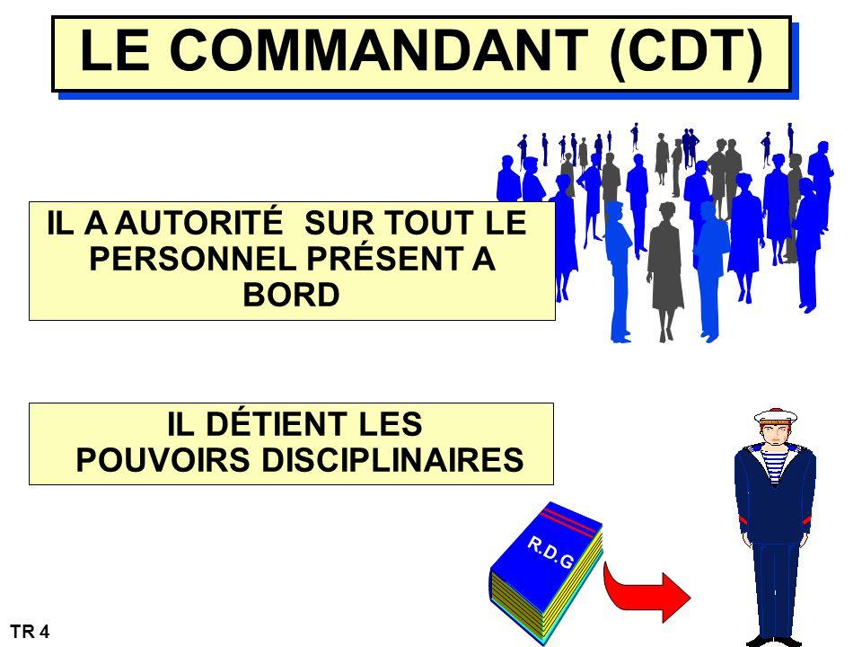 IL A AUTORITÉ SUR TOUT LE PERSONNEL PRÉSENT A BORD LE COMMANDANT (CDT) IL DÉTIENT LES POUVOIRS DISCIPLINAIRES R.D.G TR 4