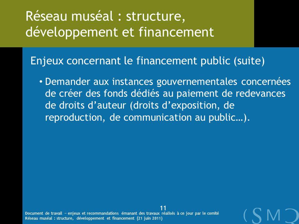 Enjeux concernant le financement public (suite) Demander aux instances gouvernementales concernées de créer des fonds dédiés au paiement de redevances