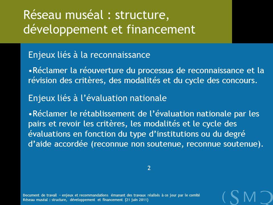 Enjeux liés à la reconnaissance Réclamer la réouverture du processus de reconnaissance et la révision des critères, des modalités et du cycle des conc
