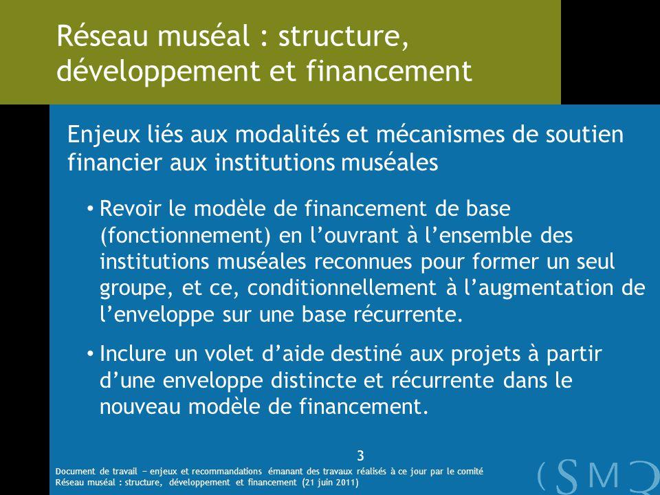 Enjeux liés aux modalités et mécanismes de soutien financier aux institutions muséales Revoir le modèle de financement de base (fonctionnement) en lou