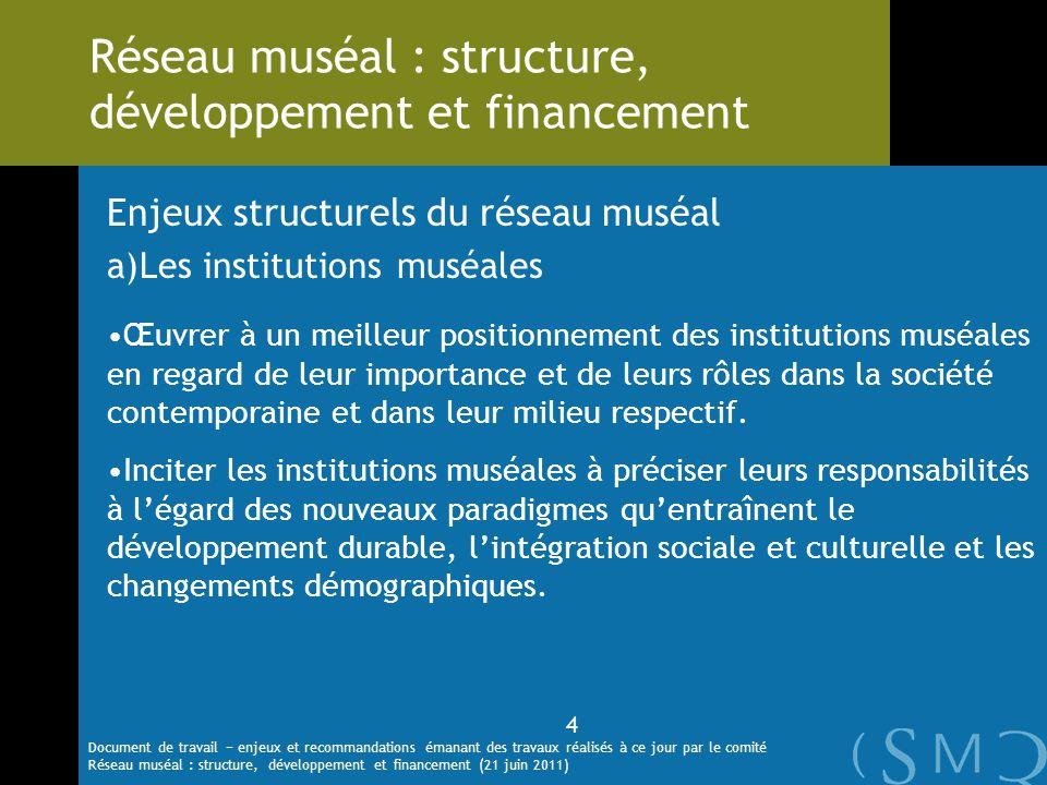 Enjeux structurels du réseau muséal a)Les institutions muséales Œuvrer à un meilleur positionnement des institutions muséales en regard de leur import