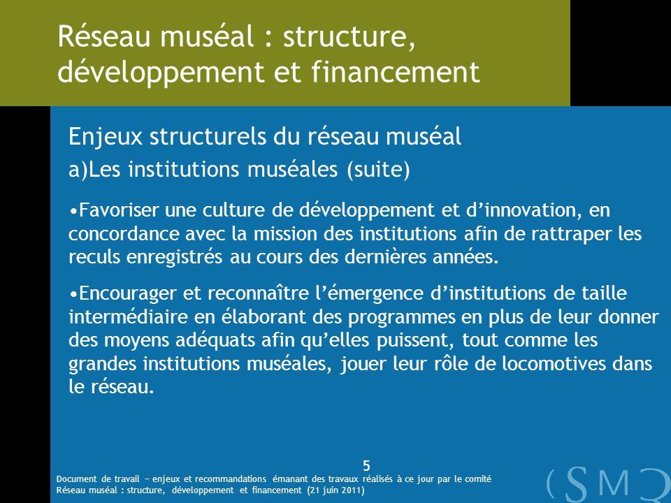 Enjeux structurels du réseau muséal a)Les institutions muséales (suite) Favoriser une culture de développement et dinnovation, en concordance avec la