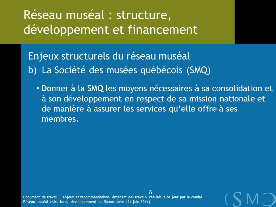 Enjeux structurels du réseau muséal b)La Société des musées québécois (SMQ) Donner à la SMQ les moyens nécessaires à sa consolidation et à son dévelop