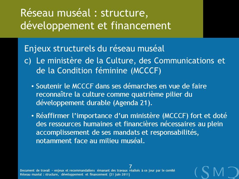 Enjeux structurels du réseau muséal c)Le ministère de la Culture, des Communications et de la Condition féminine (MCCCF) Soutenir le MCCCF dans ses dé