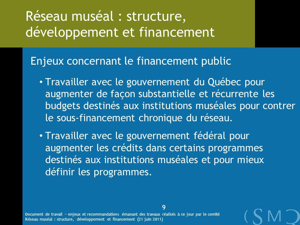 Enjeux concernant le financement public Travailler avec le gouvernement du Québec pour augmenter de façon substantielle et récurrente les budgets dest