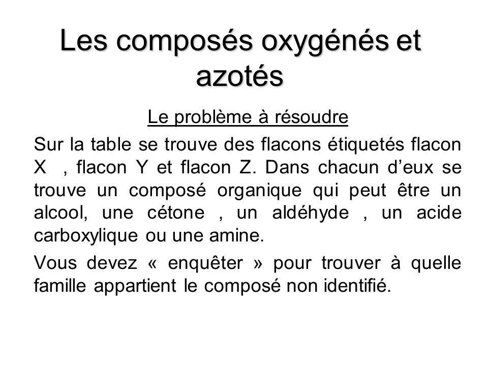 Les composés oxygénés et azotés Le problème à résoudre Sur la table se trouve des flacons étiquetés flacon X, flacon Y et flacon Z. Dans chacun deux s