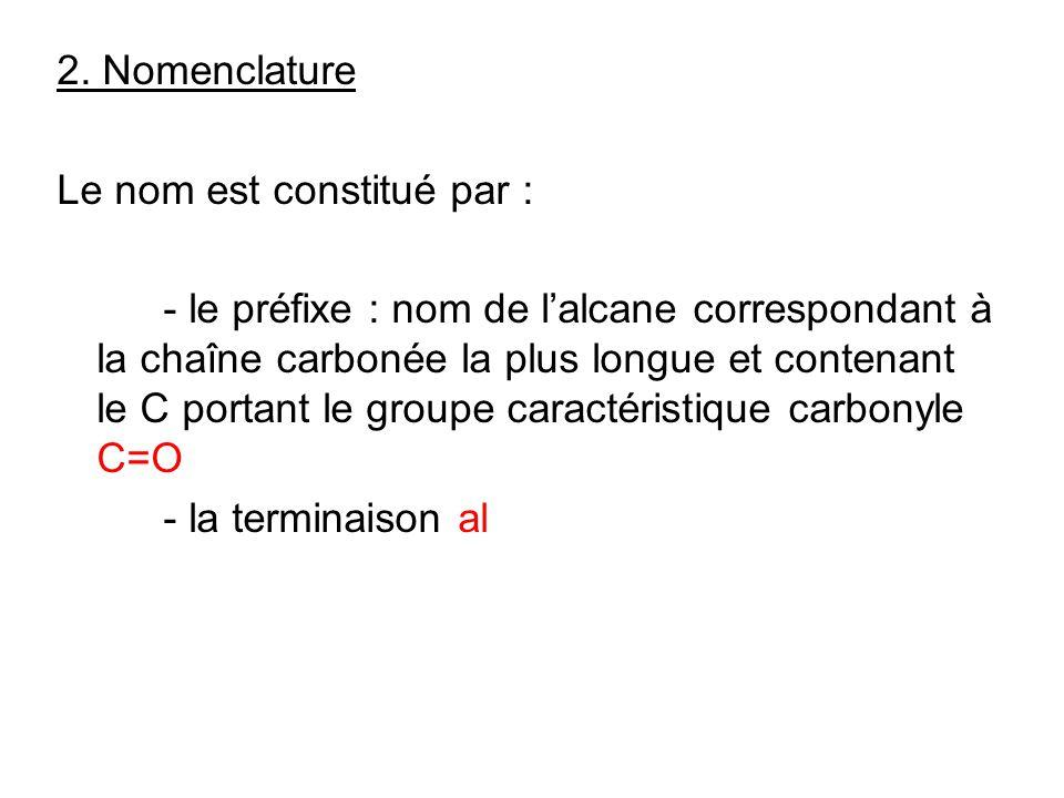 2. Nomenclature Le nom est constitué par : - le préfixe : nom de lalcane correspondant à la chaîne carbonée la plus longue et contenant le C portant l