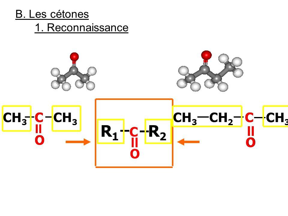 B. Les cétones 1. Reconnaissance C = O CH 3 C = O C = O C = O C = O R1R1 CH 2 R2R2