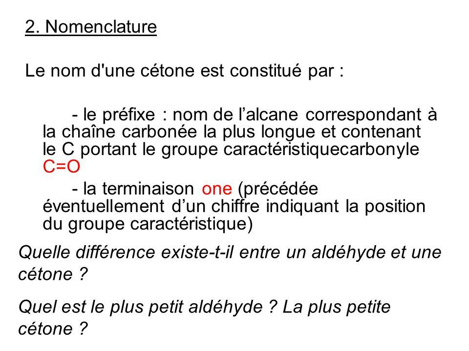 2. Nomenclature Le nom d'une cétone est constitué par : - le préfixe : nom de lalcane correspondant à la chaîne carbonée la plus longue et contenant l