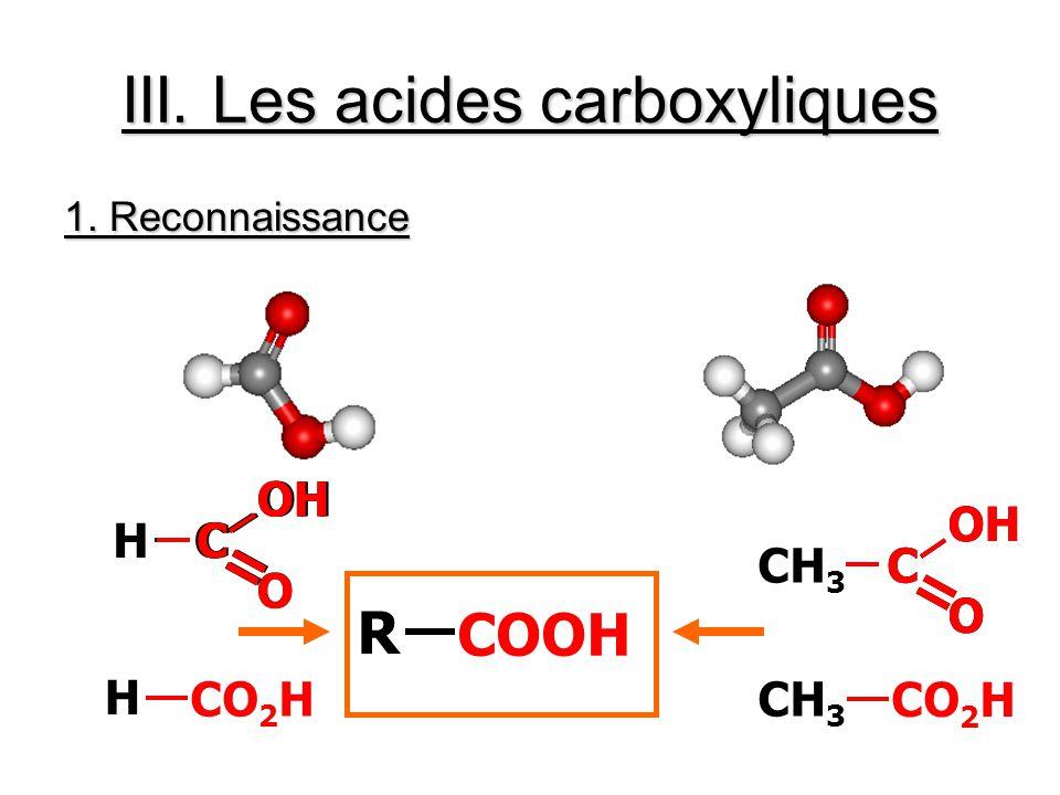 III. Les acides carboxyliques 1. Reconnaissance HC = OH O C = O CH 3 C C = OH O C = C = O H CO 2 HCH 3 CO 2 H R COOH