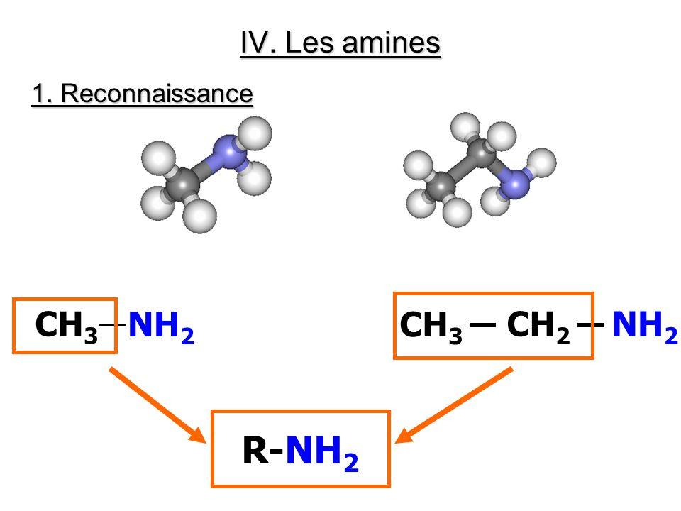 IV. Les amines CH 3 NH 2 CH 3 CH 2 NH 2 R-NH 2 1. Reconnaissance