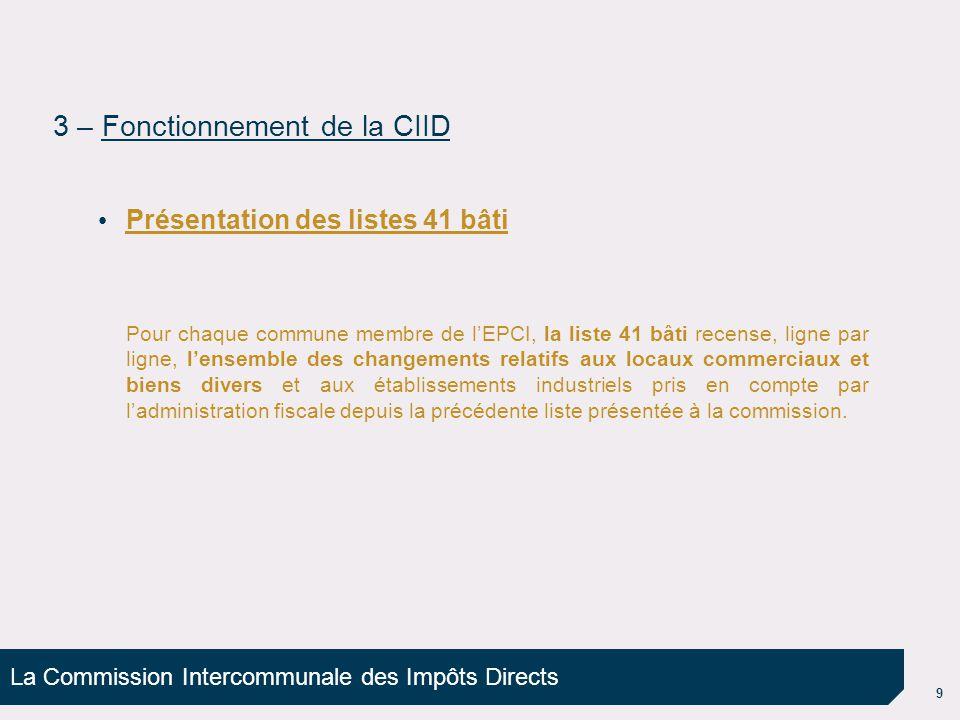 La Commission Intercommunale des Impôts Directs 10 Exemple de liste 41 bâti 3 – Fonctionnement de la CIID