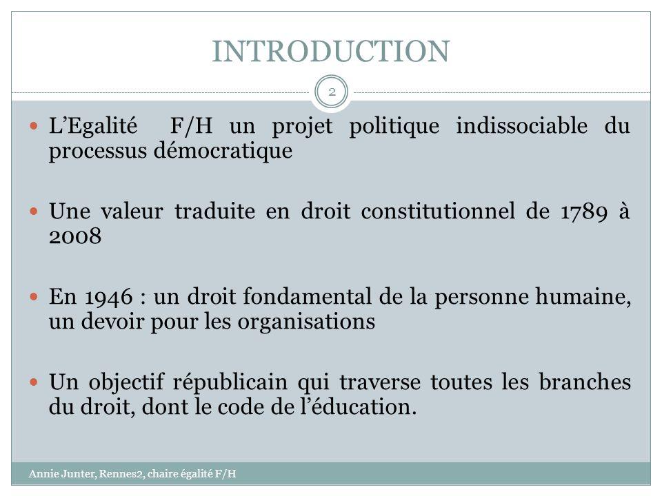 INTRODUCTION LEgalité F/H un projet politique indissociable du processus démocratique Une valeur traduite en droit constitutionnel de 1789 à 2008 En 1