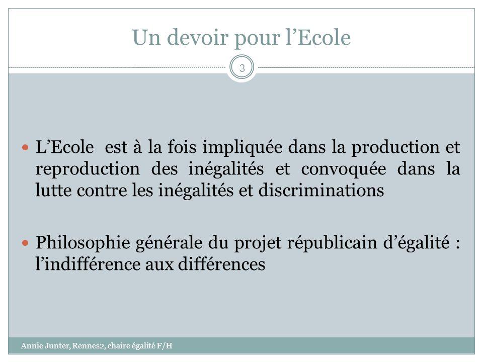 Un devoir pour lEcole LEcole est à la fois impliquée dans la production et reproduction des inégalités et convoquée dans la lutte contre les inégalité