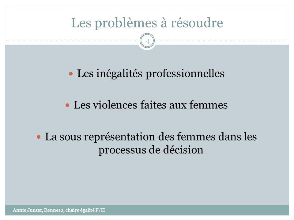 Les problèmes à résoudre Les inégalités professionnelles Les violences faites aux femmes La sous représentation des femmes dans les processus de décis
