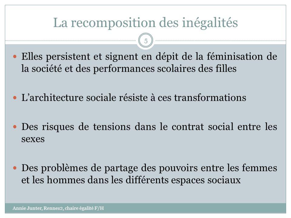 La recomposition des inégalités Elles persistent et signent en dépit de la féminisation de la société et des performances scolaires des filles Larchit