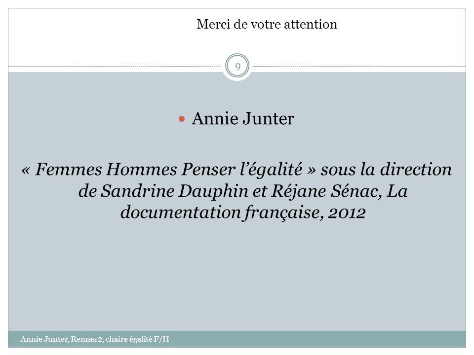 Annie Junter « Femmes Hommes Penser légalité » sous la direction de Sandrine Dauphin et Réjane Sénac, La documentation française, 2012 9 Annie Junter,