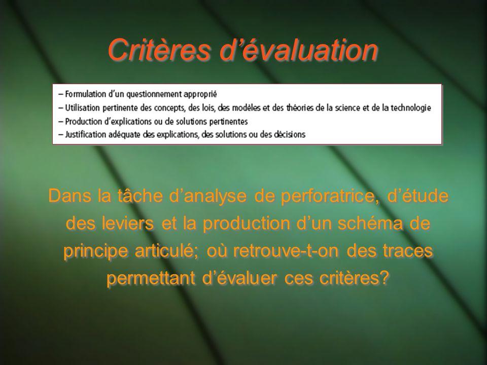 Critères dévaluation Dans la tâche danalyse de perforatrice, détude des leviers et la production dun schéma de principe articulé; où retrouve-t-on des traces permettant dévaluer ces critères?
