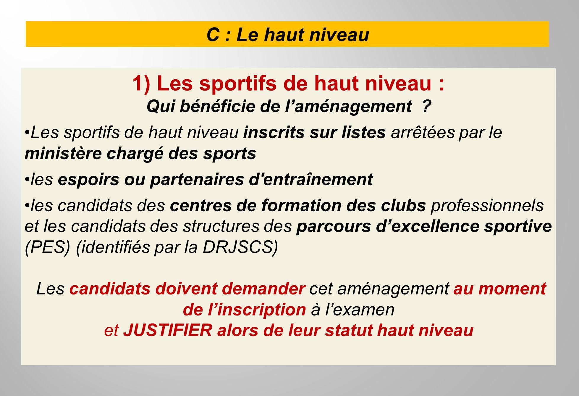 C : Le haut niveau 1) Les sportifs de haut niveau : Qui bénéficie de laménagement ? Les sportifs de haut niveau inscrits sur listes arrêtées par le mi