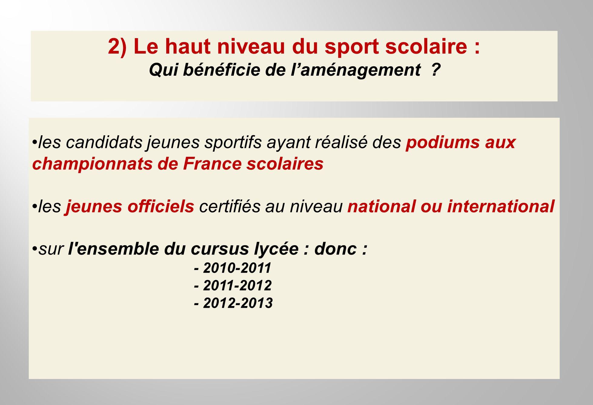 2) Le haut niveau du sport scolaire : Qui bénéficie de laménagement ? les candidats jeunes sportifs ayant réalisé des podiums aux championnats de Fran