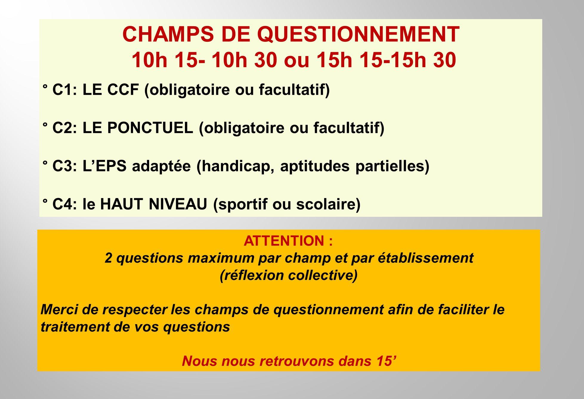 CHAMPS DE QUESTIONNEMENT 10h 15- 10h 30 ou 15h 15-15h 30 ° C1: LE CCF (obligatoire ou facultatif) ° C2: LE PONCTUEL (obligatoire ou facultatif) ° C3: